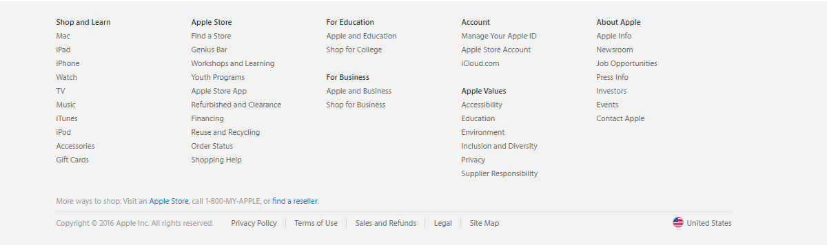 apple.com 主菜单