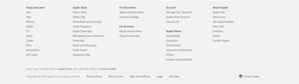 apple.com 页脚菜单