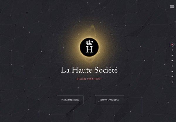 Dark web design example: La Haute Société